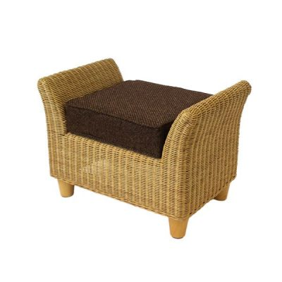 Alcester Natural Rattan Conservatory Footstool Plus Cushion