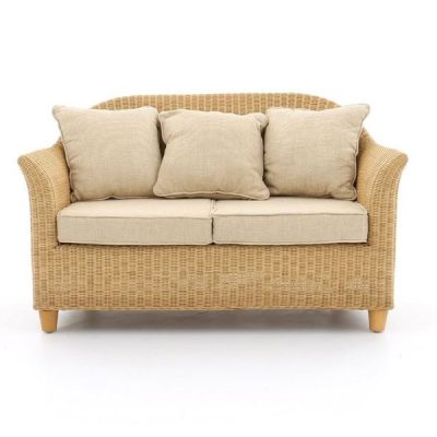 Alcester Natural Rattan 2-Seater Conservatory Sofa