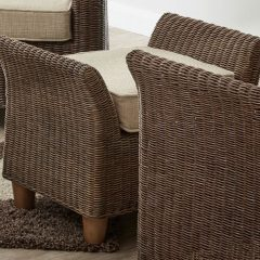 Alcester Brown Rattan Conservatory Footstool Plus Cushion