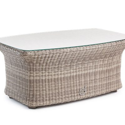 Sandbanks AquaMax Outdoor Rattan Glass Top Garden Coffee Table. Garden Furniture Rattan