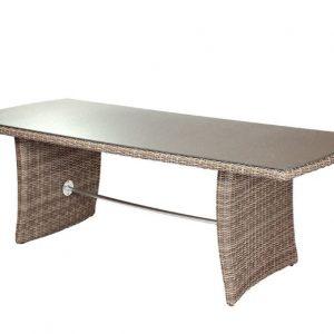 Sandbanks AquaMax 220cm Glass Top Rattan Garden Dining Table. Outdoor Dinning Tables