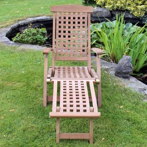 Atlantic Folding Teak Steamer Chair Sun Lounger Plus Removable Footrest