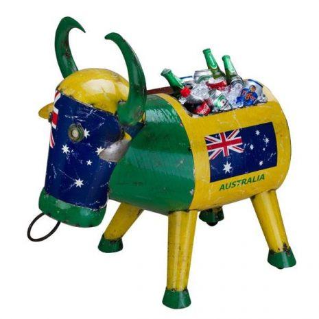 Aussie Drinks Cooler. Bertie the Bull Australia Metal Drinks Cooler Garden Ornament by Aaron Jackson of Think Outside