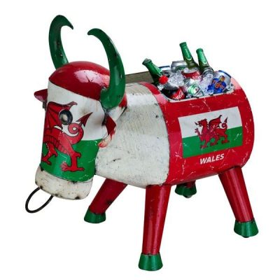 Wales Giant Party Ice Bucket Metal Drinks Cooler 'Bertie Bull'