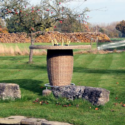 Bude Outdoor Rattan Round Bar Table with Ice Bucket. Garden rattan furniture