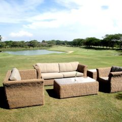 Bude 4-Piece Outdoor Rattan Garden Sofa Set. 2-Seater Garden Sofa. 2 x Outdoor Rattan Armchairs