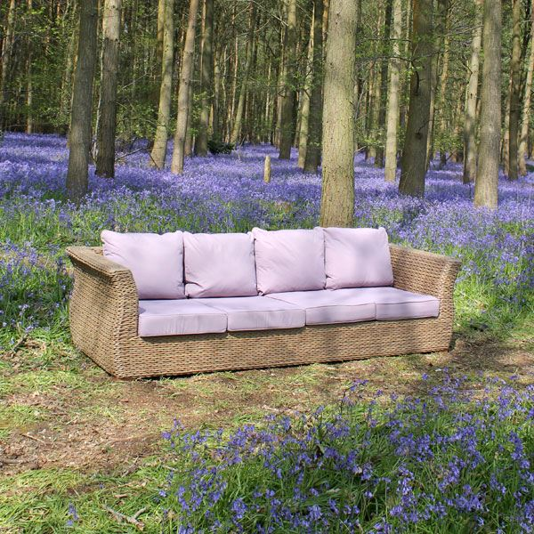 Large 4 Seater Outdoor Rattan Garden Sofa Deluxe Bude Water Hyacinth