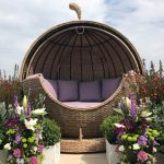 Bude Apple Shaped Rattan Garden Day Bed. Outdoor Sofa Lounger with outdoor cushions