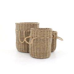 Bude Outdoor Rattan Basket Set. Bude Small Outdoor Rattan Basket. Bude Medium Outdoor Rattan Basket. Bude Large Outdoor Rattan Basket