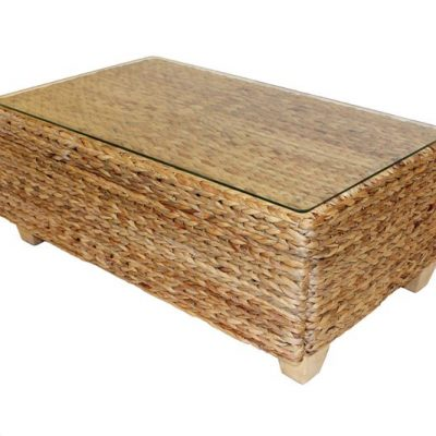 Bude Glass Top Outdoor Rattan Coffee Table
