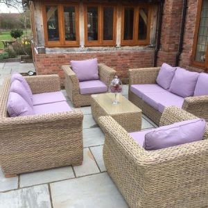 Bude Outdoor Garden Rattan Furniture Set - Two 3 Seat Garden Sofas plus Two Ourdoor Armchairs With Outdoor Cushions