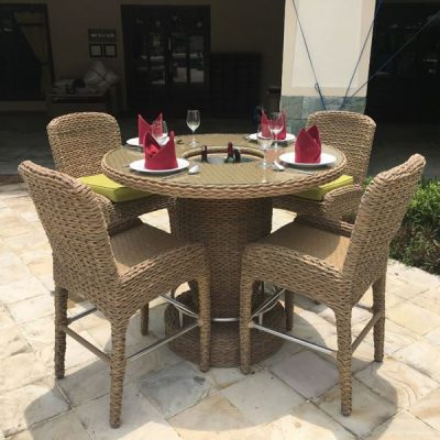 Bude Rattan 4 Seater Outdoor Bar Set