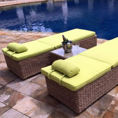 Bude Rattan Double Sun Lounger Set plus FREE Side Table
