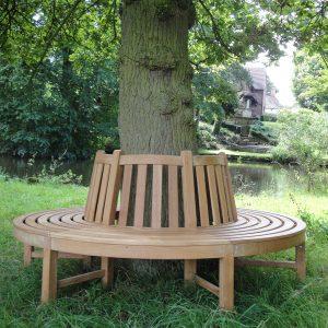 Teak Circular Tree Bench With Backrest - 205cm