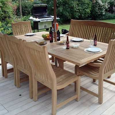 Constable Medium 6 Seater Teak Garden Dining Set. Constable Medium Extending Teak Garden Dining Table - 1.8 to 2.4m. Teak Dining Furniture