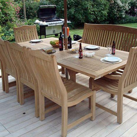 Constable Medium 6 Seater Teak Garden Dining Set. Constable Medium Extending Teak Garden Dining Table - 1.8 to 2.4m. Teak Dining Furniture