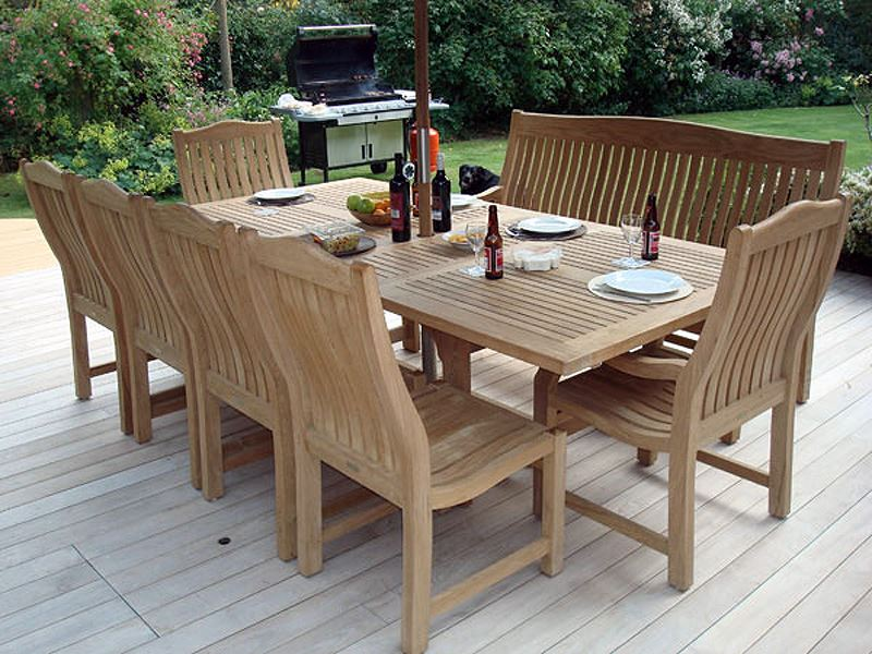 MASSIVE 2.4m OVAL EXTENDING CHUNKY TEAK WOOD GARDEN DINING TABLE STACKING CHAIRS