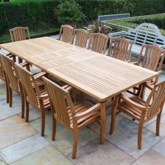 Teak Dining Furniture. Constable Large Extending Teak Garden Dining Table - 2.4 to 3m