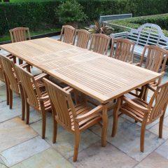 Teak Dining Furniture. Constable Large Extending Teak Garden Dining Table - 2.4 to 3m