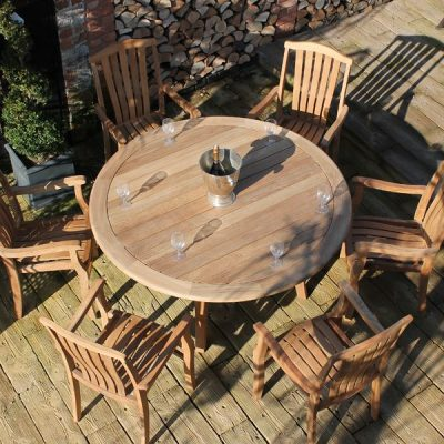 Gainsborough Sustainable Teak 6 Seater Round Dining Set