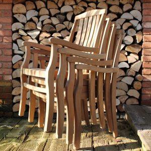 Gainsborough Sustainable Teak Stacking Garden Armchair – Set of 4