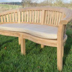 Teak Curved Garden Bench Love Seat. Half Moon Curved Garden Bench Cushion. Garden love Seat