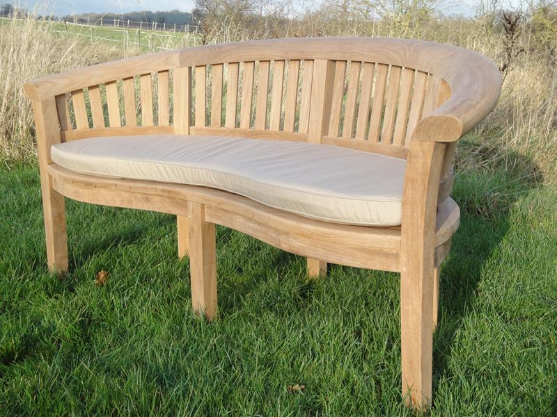 Teak Curved Garden Bench Love Seat. Half Moon Curved Garden Bench Cushion.  Garden Love