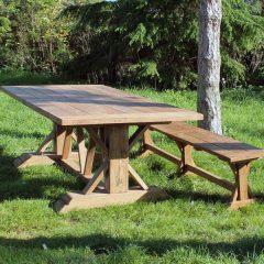 Hockney Reclaimed Teak 3m Rectangular Garden Dining Table. Hockney Reclaimed Teak 280cm Backless Garden Bench