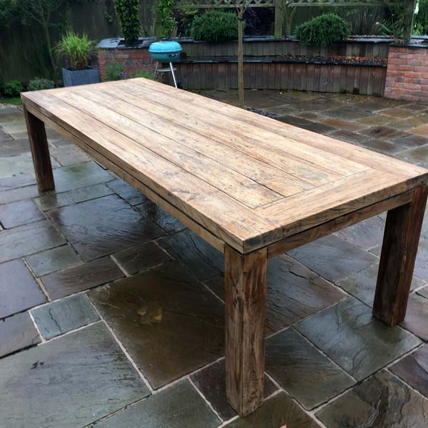 Large 280cm 10 Seater Reclaimed Teak, Reclaimed Outdoor Dining Table