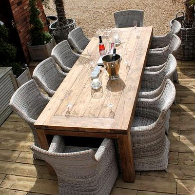 Lowry 10 Seater Reclaimed Teak Rectangular Garden Dining Set
