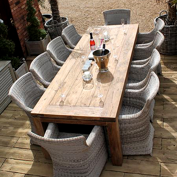 Lowry 10 Seater Reclaimed Teak Rectangular Garden Patio