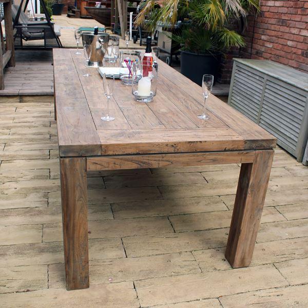 Large 280cm 10 Seater Reclaimed Teak Rectangular Garden Dining Table
