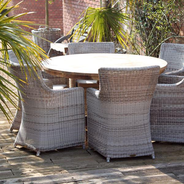 6 Seater Round Garden Dining Table, Wood Round Table Garden Furniture