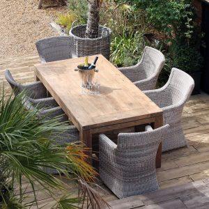 Lowry 6 Seater Reclaimed Teak Rectangular Garden Dining Set