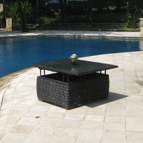 Bude Outdoor Rattan Convertible Garden Coffee Dining Table Glass Top