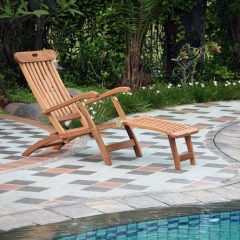 Pacific Folding Teak Steamer Chair Sun Lounger