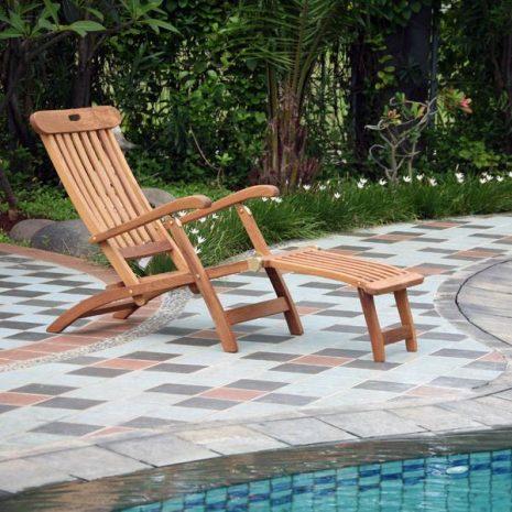 Pacific Folding Teak Steamer Chair Sun Lounger