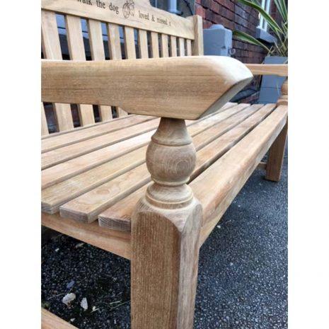 Rossetti 150cm Teak Garden Bench - Close up Side View Armrest