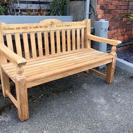 Rossetti 150cm Teak Garden Bench + engraving - three quarter view