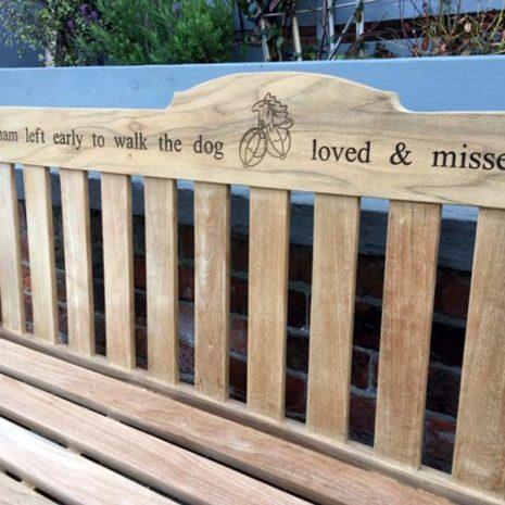 Rossetti 150cm Teak Garden Bench with laser engraved inscription + image 2
