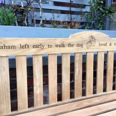 Rossetti 150cm Teak Garden Bench with laser engraved inscription + image