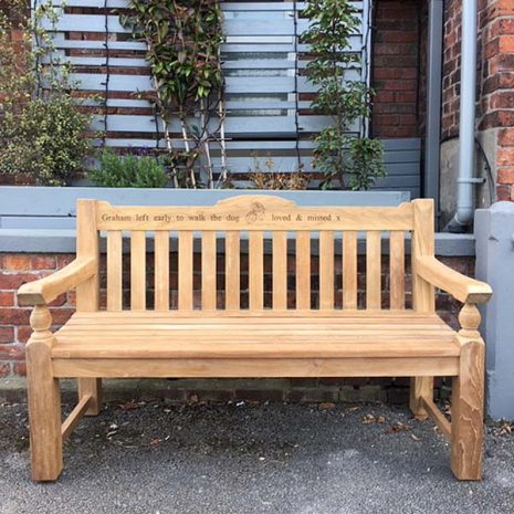 Rossetti 150cm Teak Garden Bench with laser engraving - front view