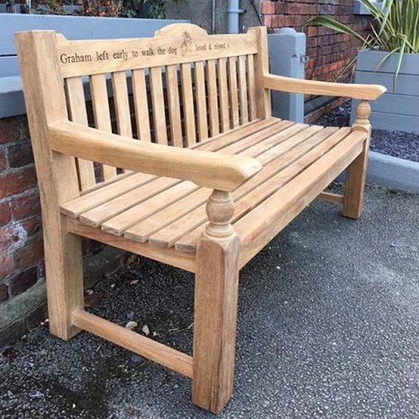 Rossetti 150cm Teak Garden Bench with laser engraving - three quarter view
