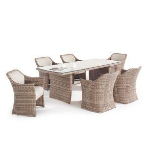 Sandbanks AquaMax 6 Seat Outdoor Rattan Garden Dining Set. Outdoor dinning table. 6 Garden rattan armchairs