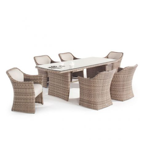 Sandbanks AquaMax 6 Seat Outdoor Rattan Garden Dining Set. Outdoor dinning table. 6 Garden rattan armchairs