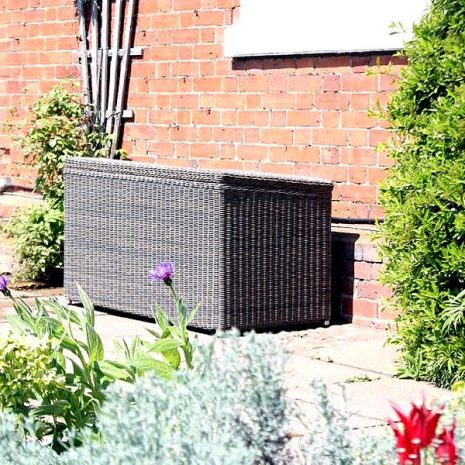 Scarborough Large Outdoor Rattan Garden Storage Box. Scarborough Outdoor Rattan Small Garden Storage Box. Scarborough Medium Rattan Garden Storage Box. CUshion Box