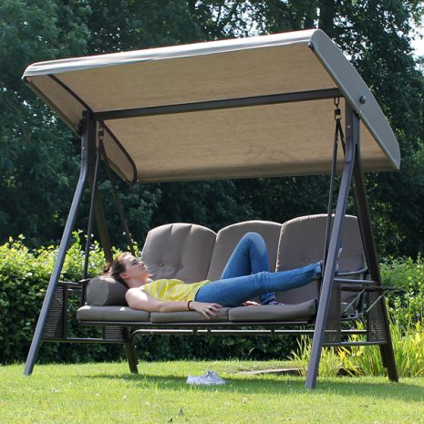 Tamarin 3 Seater Garden Swing Seat Plus Canopy and Luxury Beige Cushions