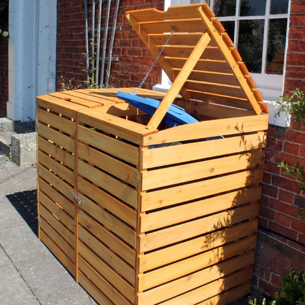 Wheelie Bin Cover - Double Wooden Wheelie Bin Storage Unit & Double Wooden Wheelie Bin Storage Unit - Rattan and Teak Furniture