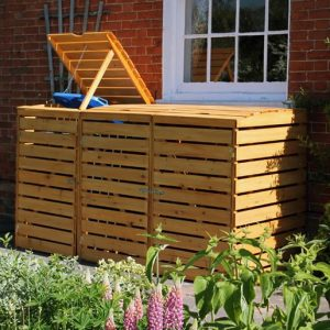 Fully Assembled Economy Triple Wooden Wheelie Bin Storage Unit