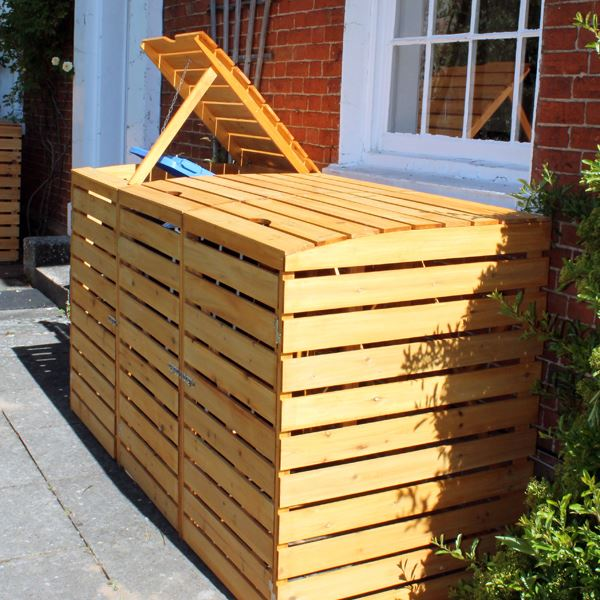 Triple Wooden Wheelie Bin Storage Unit. Wheelie Bin Covers